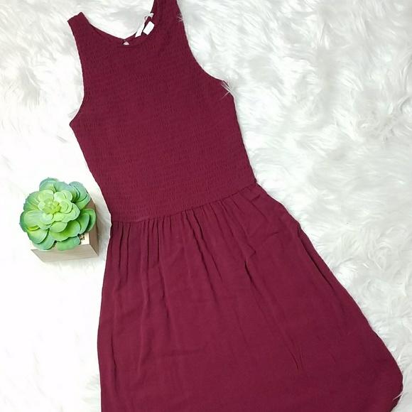 bfb0b500a9a H M Dresses   Skirts - H M Smocked Curved Hem Maroon Red Tank Dress